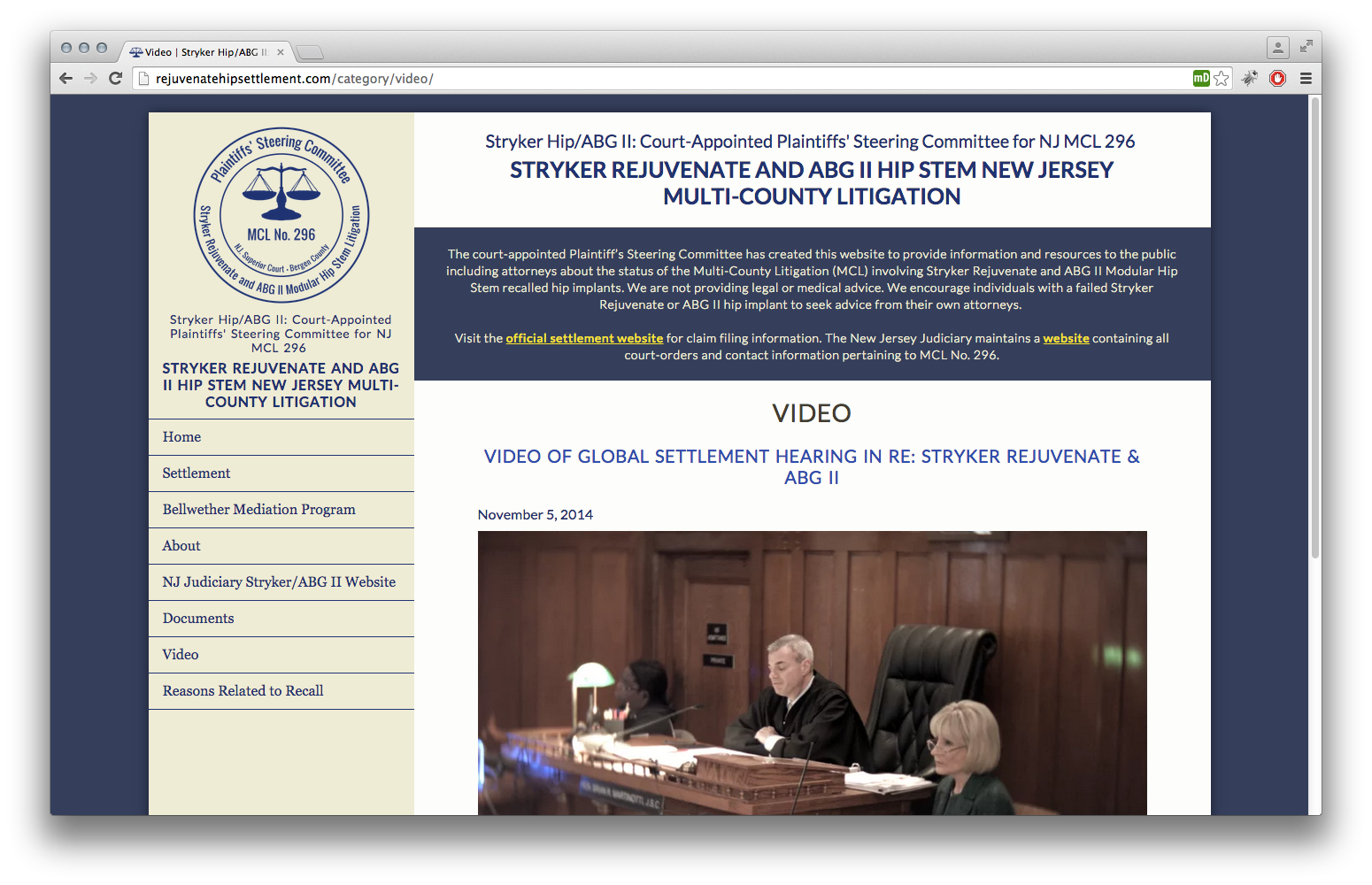 Stryker Rejuvenate/ABG II Plaintiff's Steering Committee Website